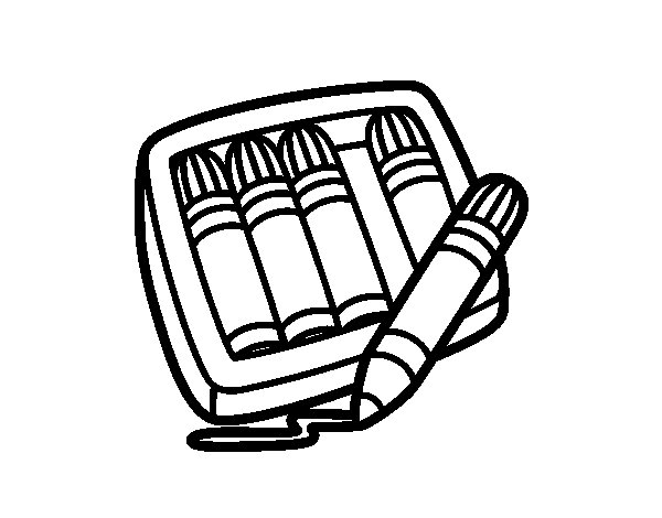 5 markers coloring page - Coloringcrew.com