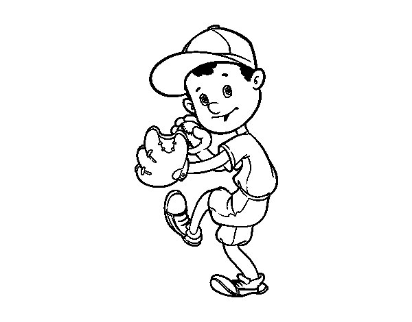 A baseball pitcher coloring page