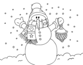 A Christmas snowman coloring page