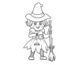 A little witch coloring page