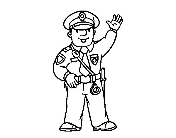 A policeman coloring page