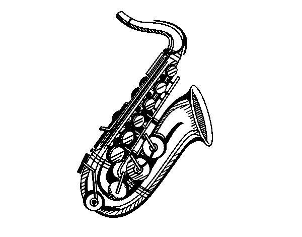 A saxophone coloring page