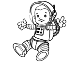 An astronaut in space coloring page