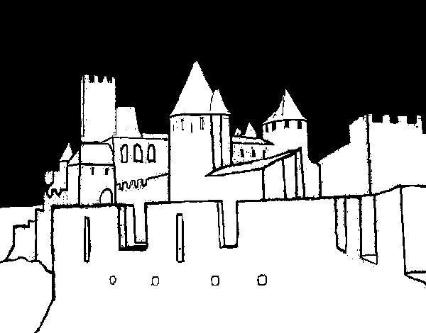 Ancient castle coloring page