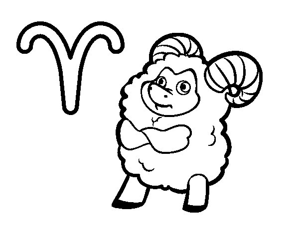 Aries horoscope coloring page