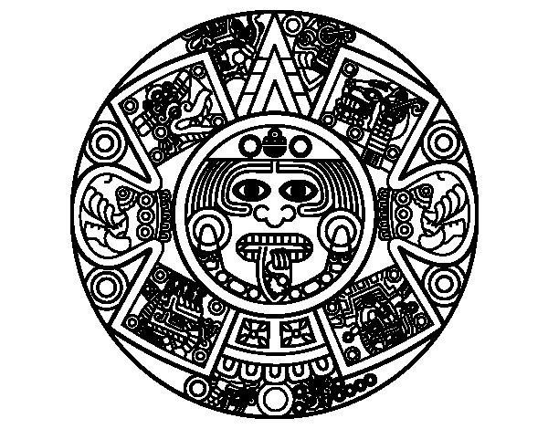 Aztec calendar stone coloring page