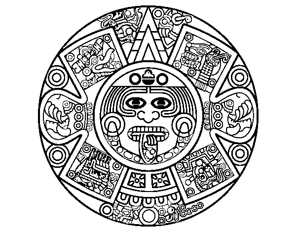 Aztec calendar coloring page images for Aztec sun coloring page