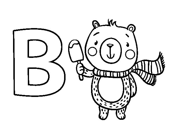 B of Bear coloring page