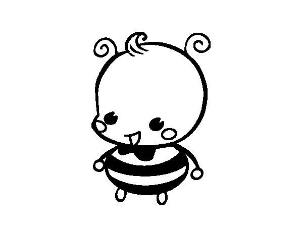 Baby bee coloring page