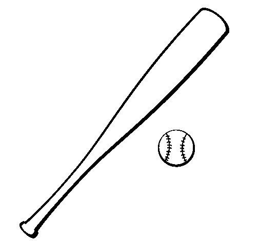 Baseball bat and baseball ball coloring page