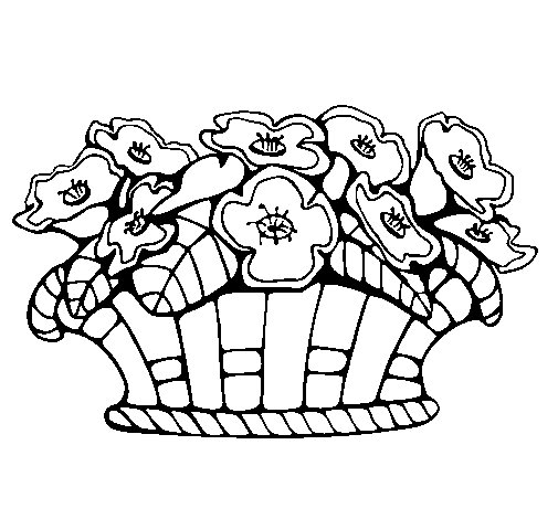 Basket of flowers 10 coloring page