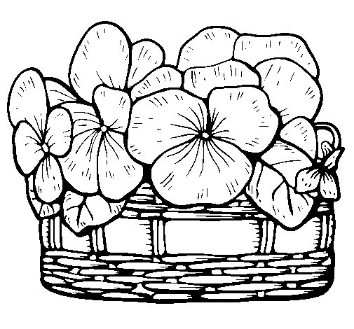 Basket of flowers 12 coloring page