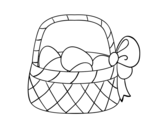 Basket with easter egg coloring page