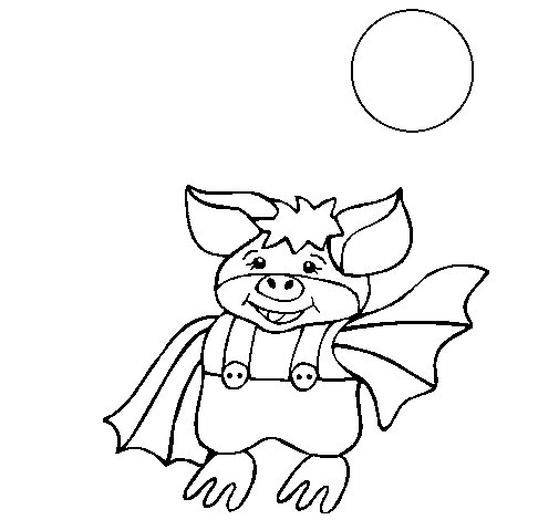 Bat wearing trousers coloring page