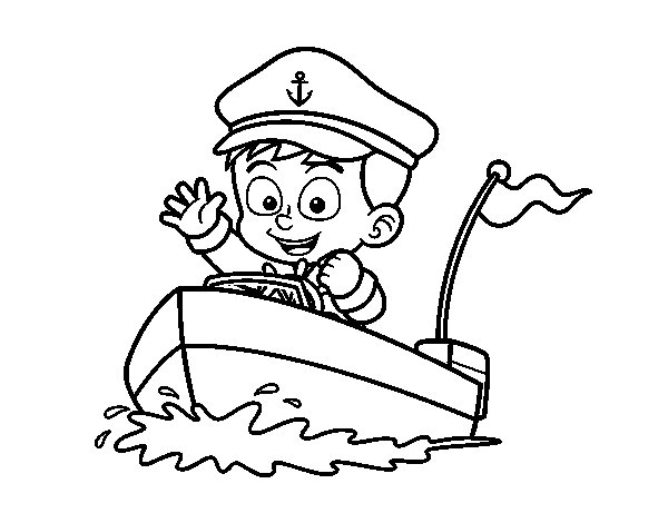 Boat and captain coloring page