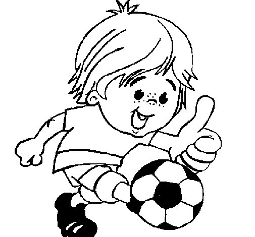 Boy playing football coloring page