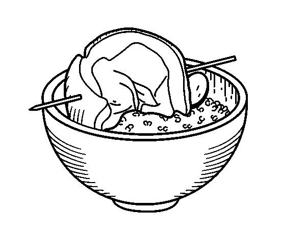 Brochette of meat with rice coloring page