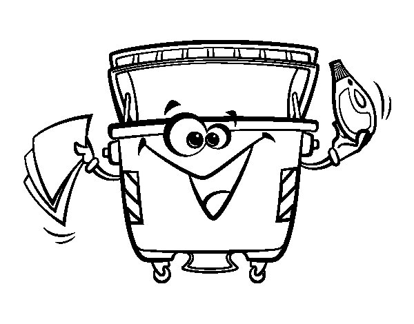 Cans container coloring page