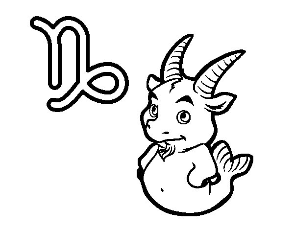 Capricorn horoscope coloring page