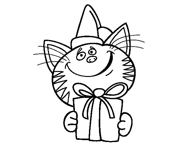 Cat with present coloring page