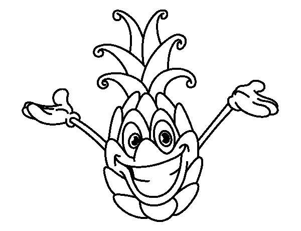 Cheerful pineapple coloring page