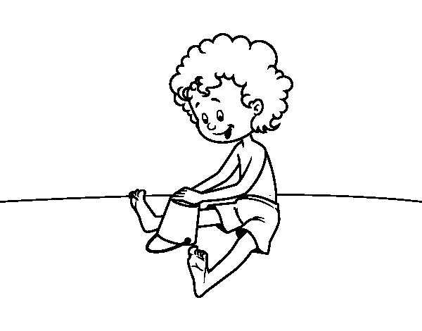 Child playing in the sand coloring page