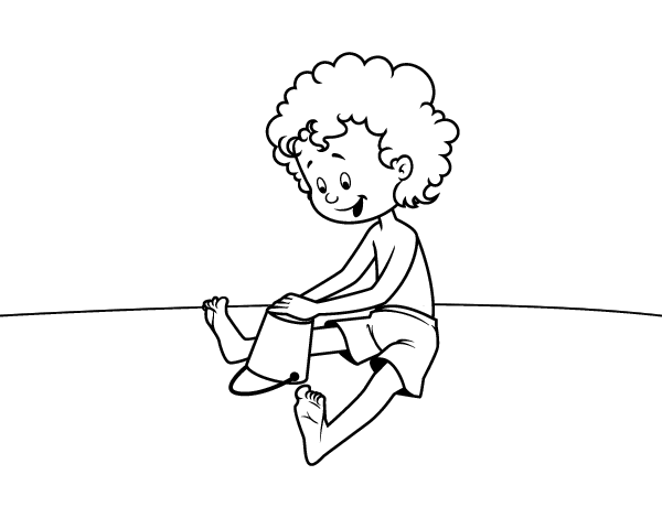 Child playing in the sand coloring page - Coloringcrew.com