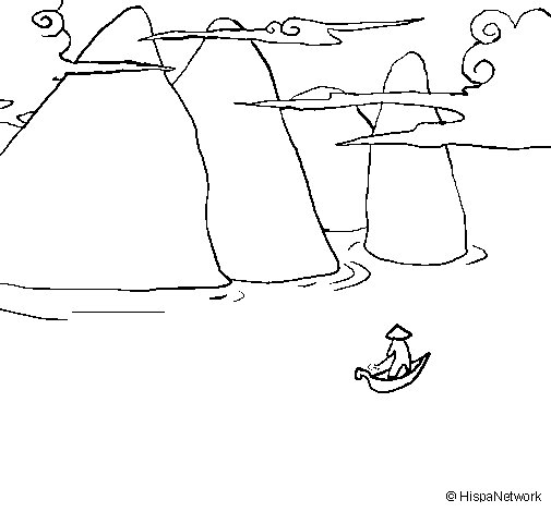 Chinese landscape coloring page