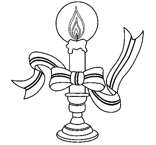 Christmas candle II coloring page