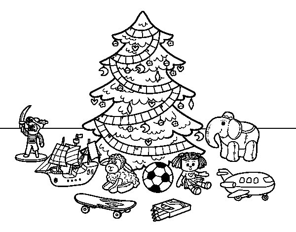 Christmas tree with some toys coloring page