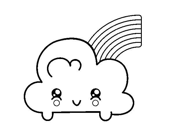 cloud with rainbow kawaii coloring page