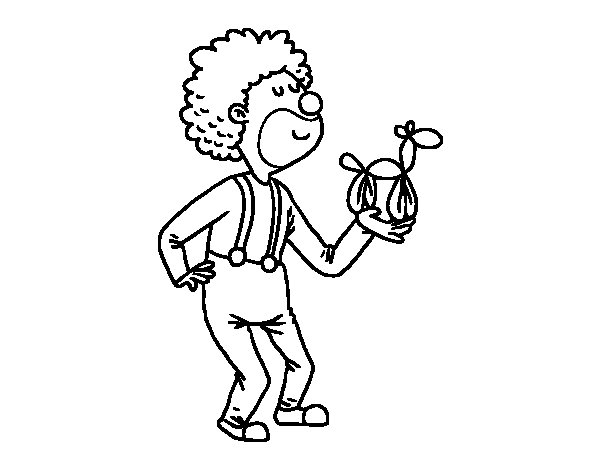 Clown with a balloon coloring page