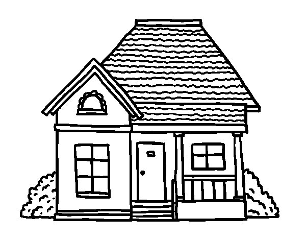 Cottage of the village coloring page