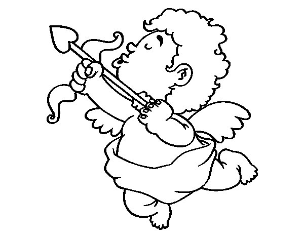 Cupid with his arrow coloring page