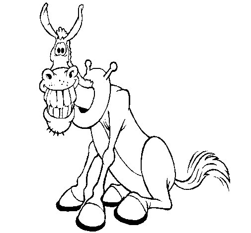Donkey with a big grin coloring page
