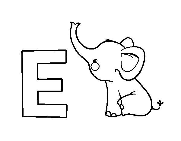 E of Elephant coloring page