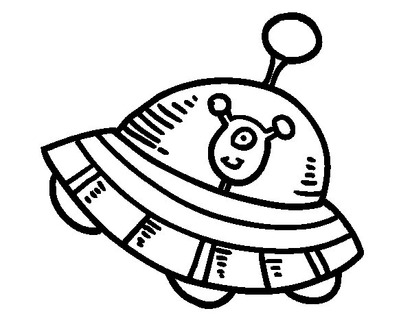 Extraterrestre na nave espacial coloring page