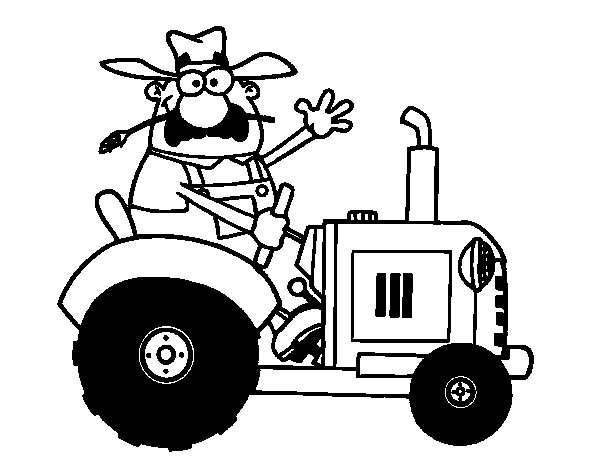 Farmer on his tractor coloring page
