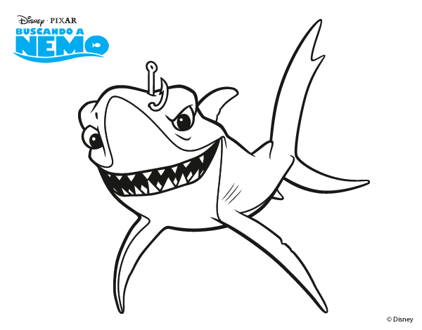 bruce from finding nemo coloring pages finding nemo chum coloring - Finding Nemo Coloring Pages Bruce