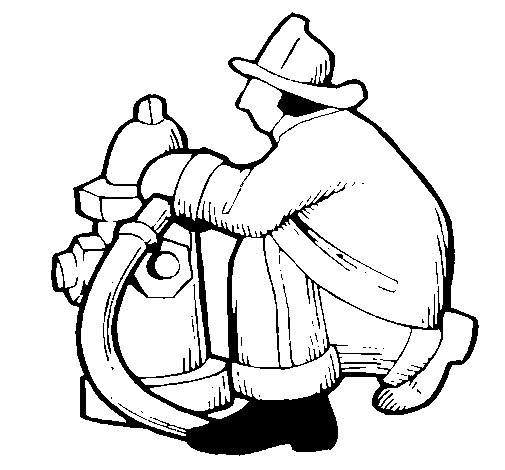 Firefighter and fire hydrant coloring page Coloringcrewcom