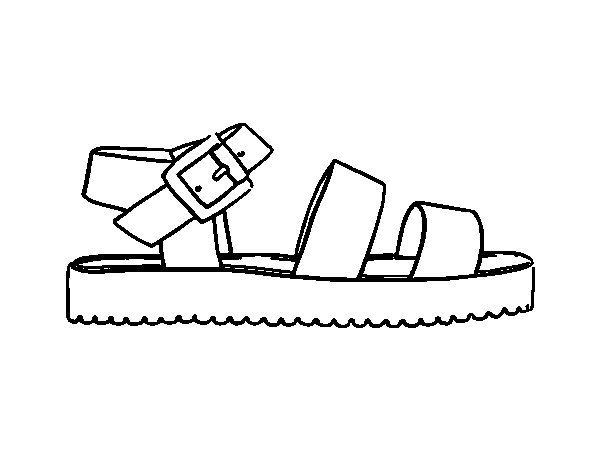 flat sandal with platform coloring page