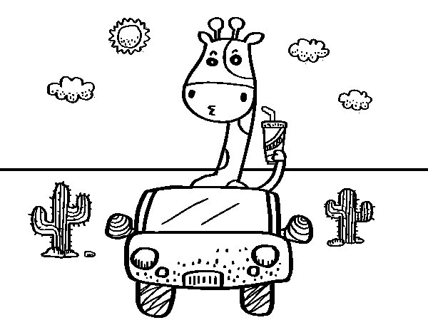 Giraffe driving coloring page