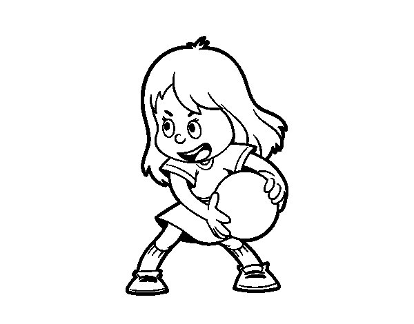 Girl with a ball coloring page