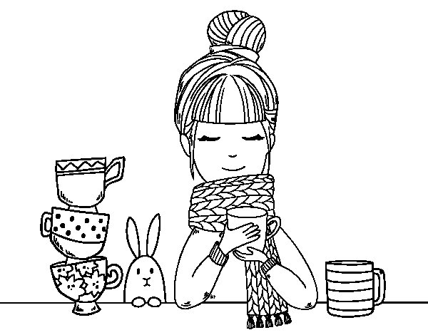 Girl with scarf and cup of tea coloring page