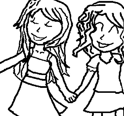 Girls Shaking Hands Coloring Page