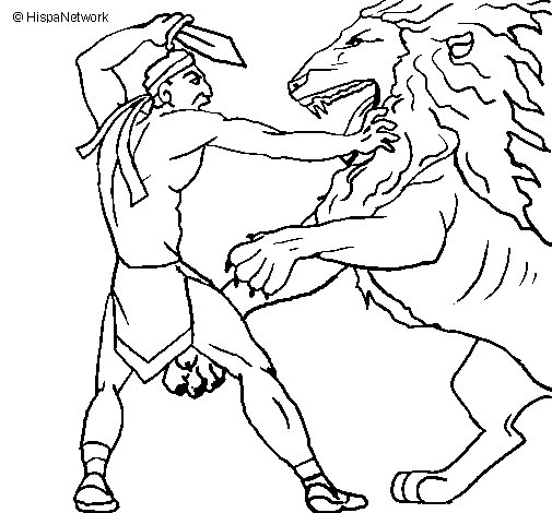 Gladiator versus a lion coloring page