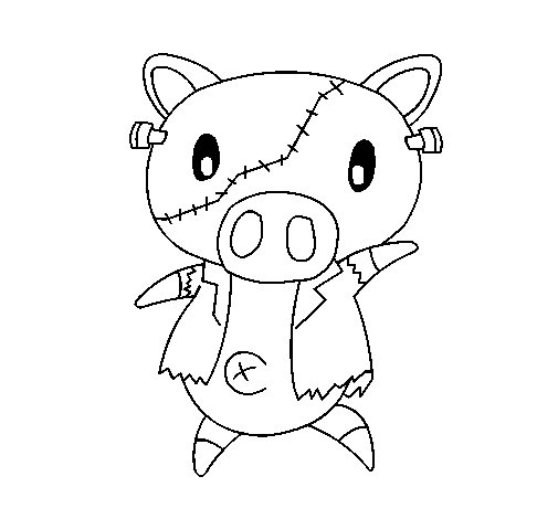 Graffiti the pig frankensteint coloring page
