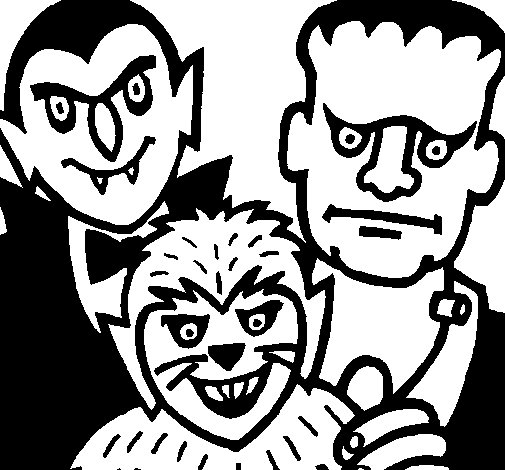 Halloween characters coloring page