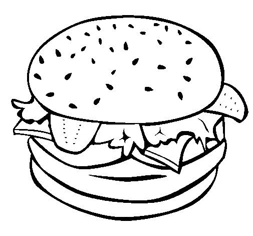 Hamburger with everything coloring page - Coloringcrew.com