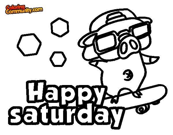 Happy saturday coloring page